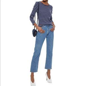 MAJESTIC FILATURES Cashmere Blend Blue Striped Top